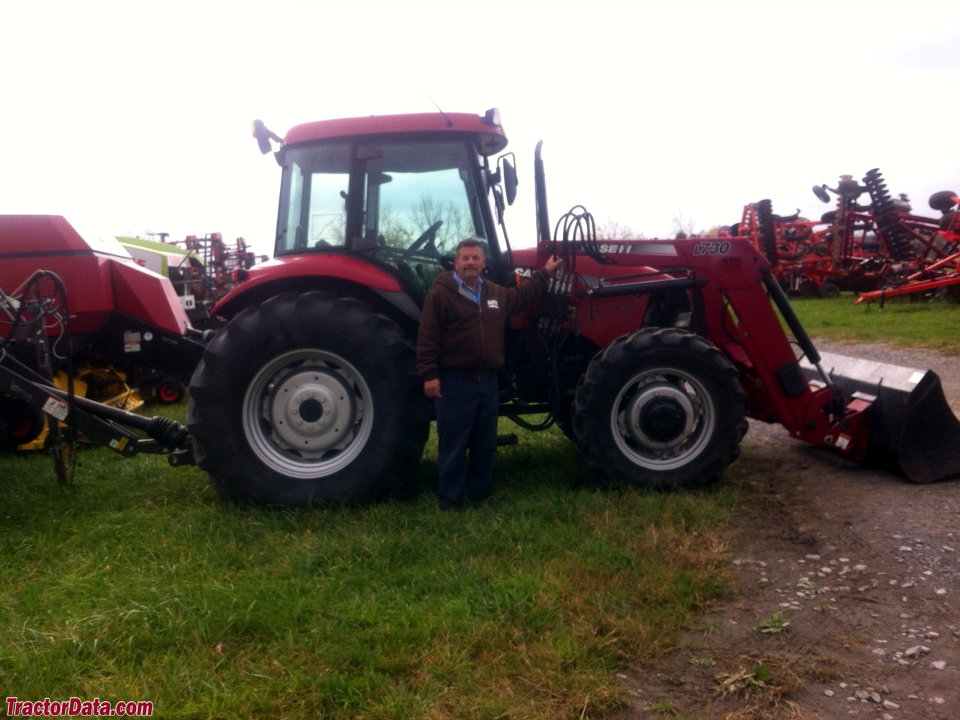 Case IH JX80 with L730 front-end loader.