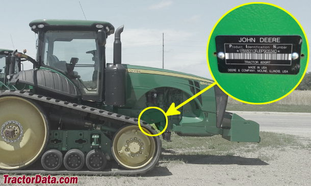 John Deere 8310RT serial number location