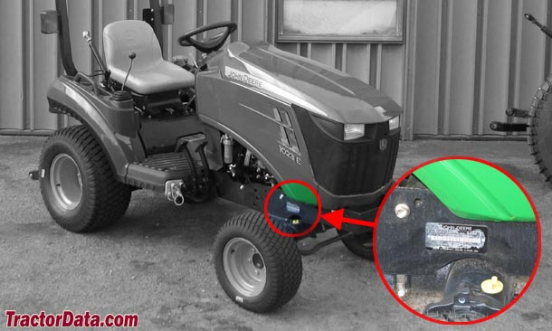 John Deere 1023E serial number location