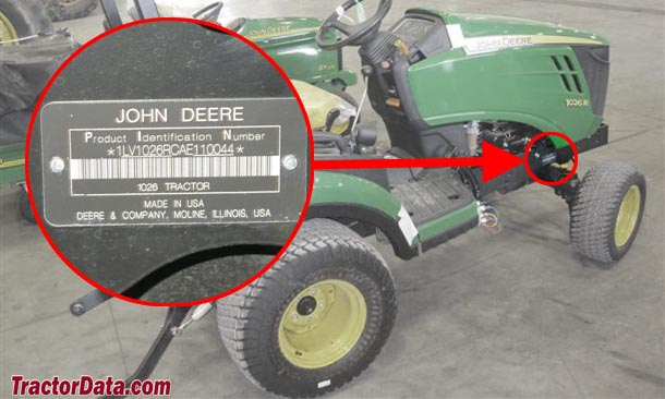 John Deere 1026R serial number location
