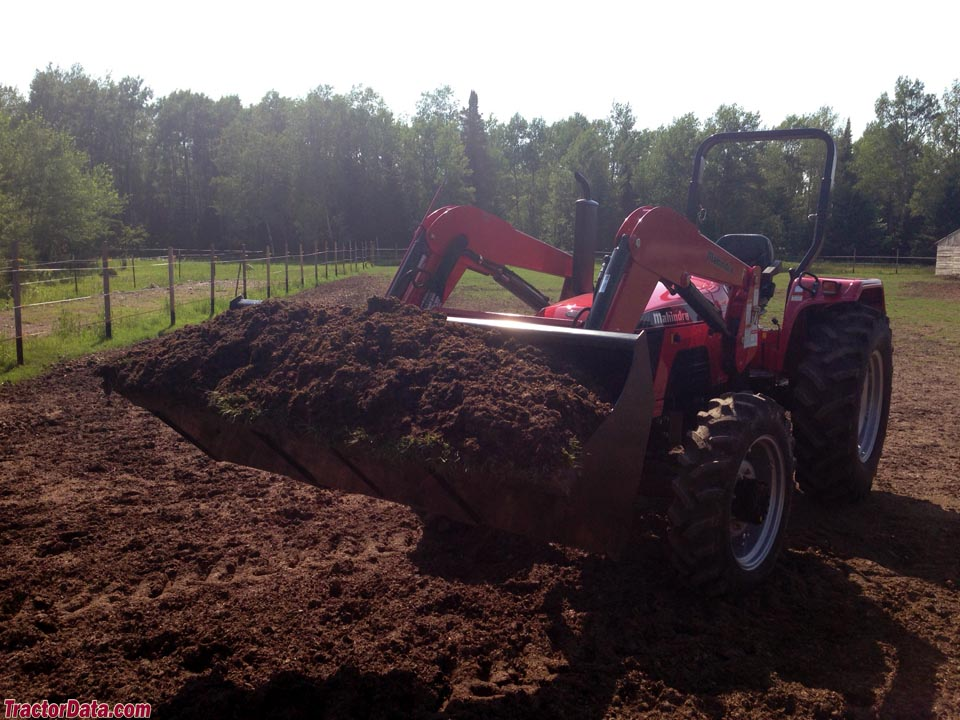 Mahindra 5530 with MFWD and front-end loader.