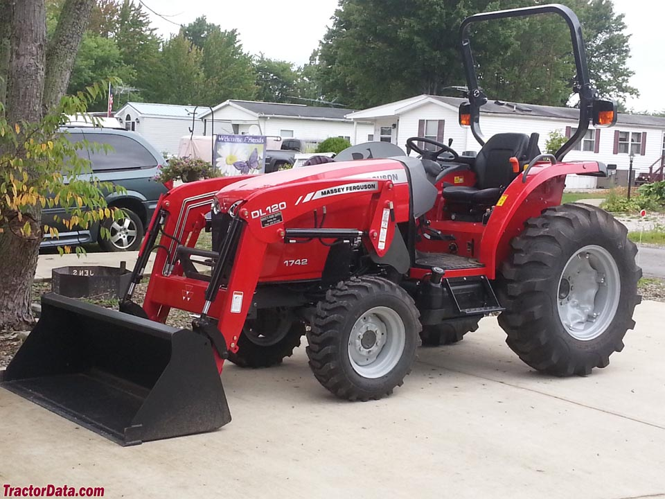 Massey Ferguson 1742 with DK120 front-end loader and ROPS.