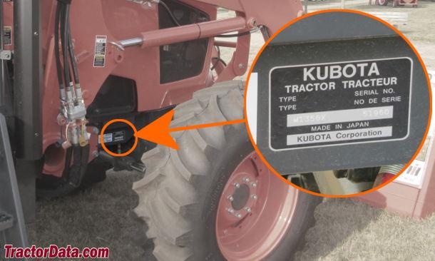 Kubota M9000 Serial Number Location