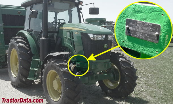 John Deere 6135E serial number location