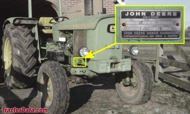 John Deere 2020 serial number location