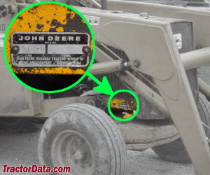 John Deere 410 serial number location