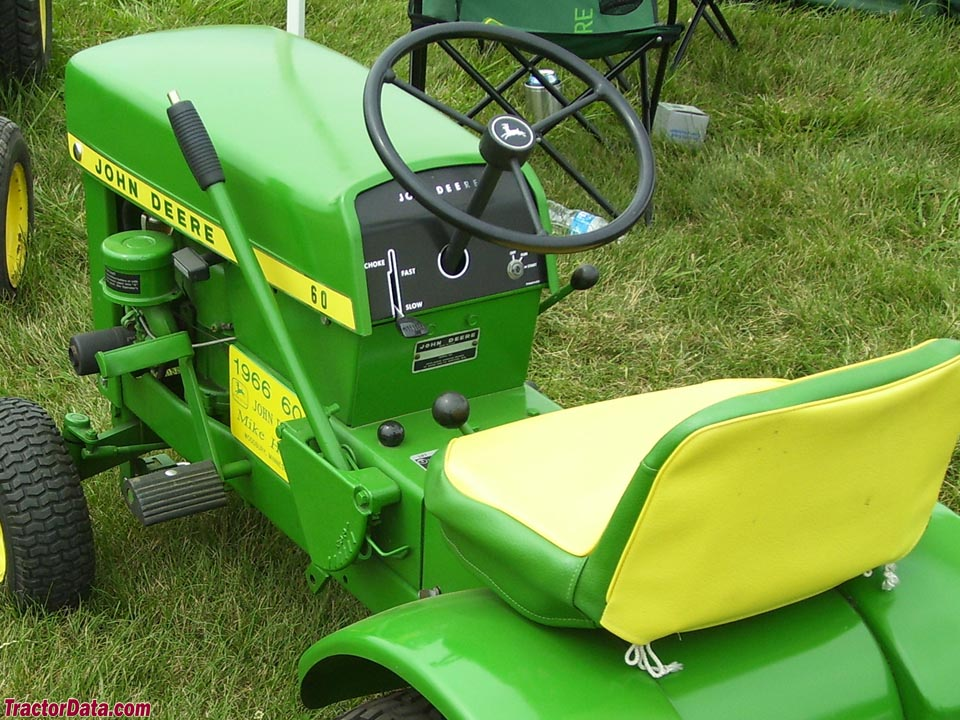 John Deere 60 lawn tractor operator station and controls.