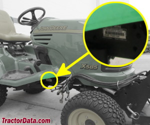 John Deere X585 serial number location
