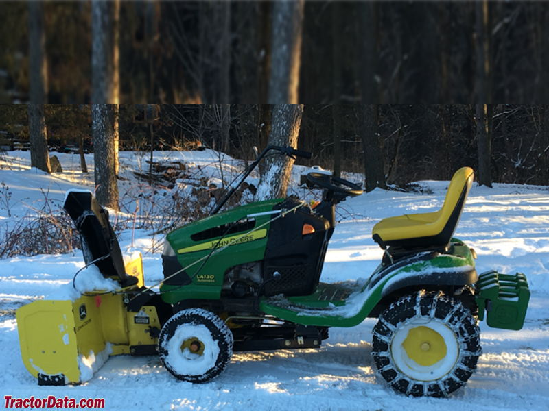 John Deere LA130 with snowblower.