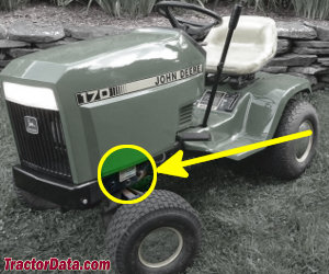 John Deere 170 serial number location