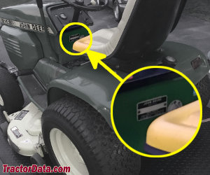 John Deere 214 serial number location