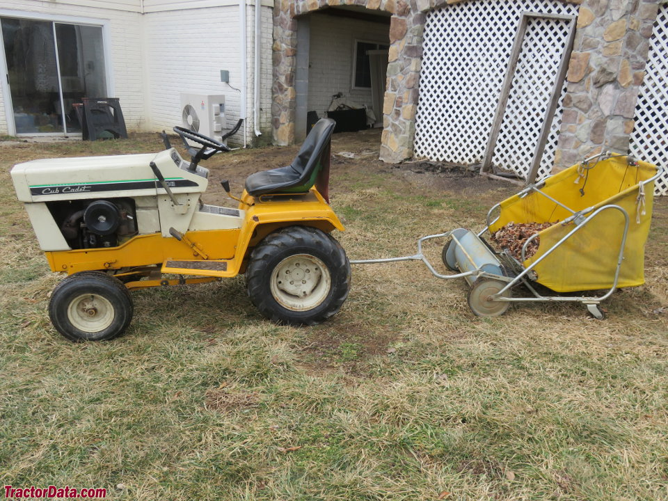Cub Cadet 108 with lawn sweeper, left side.