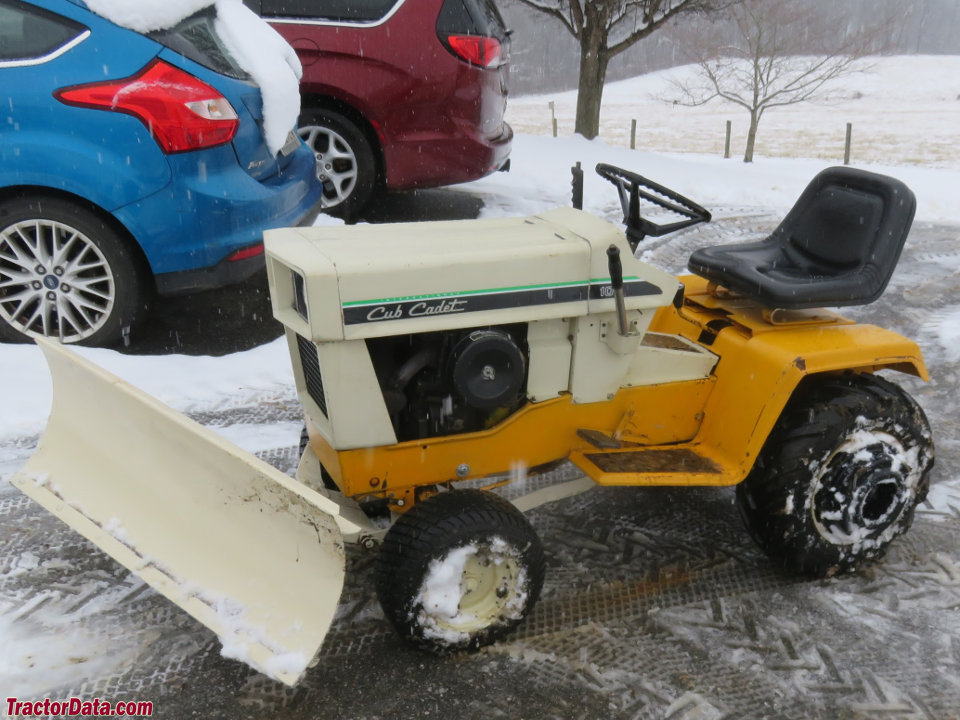 Cub Cadet 108 with front blade, left side.