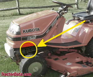 Kubota G1900 serial number location