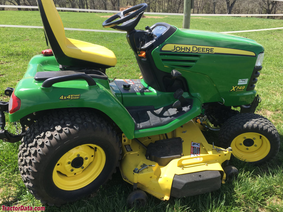 John Deere X749 with 62-inch Edge deck and three-point hitch.