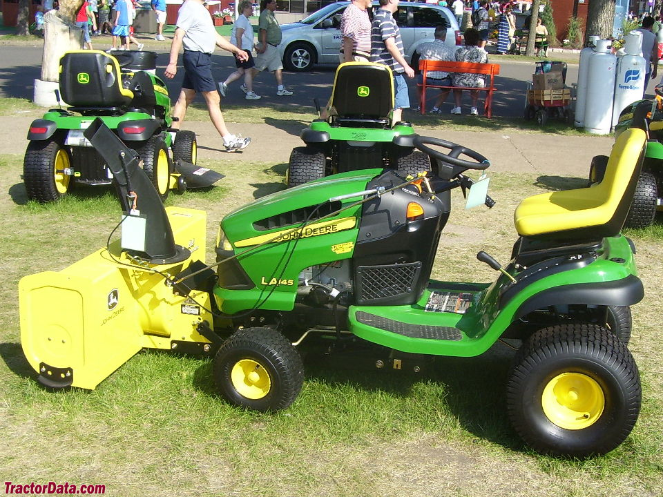 John Deere LA145 with front-mount snowblower.