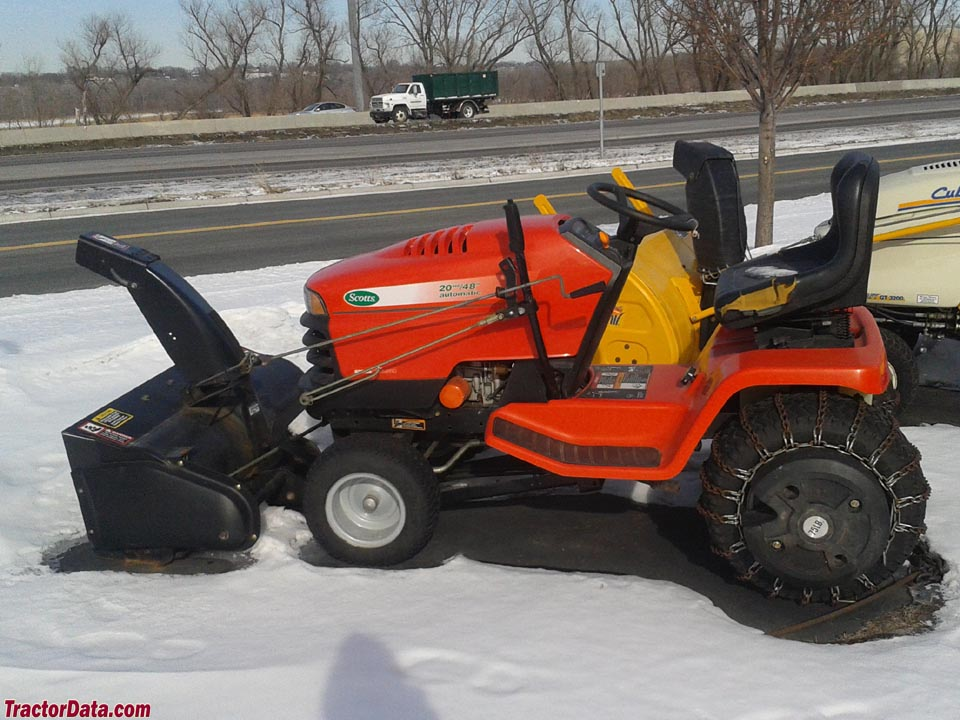 Scotts S2048 with front-mount snowblower.
