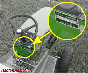 John Deere 120 serial number location