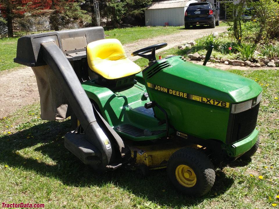 John Deere LX176 with grass bagger.