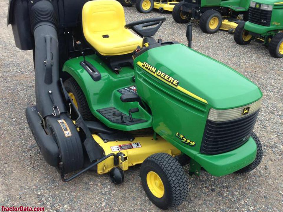 John Deere LX279 with 48-inch mower deck and PowerFlow bagger.