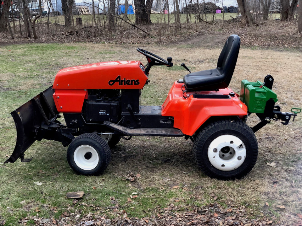 Ariens GT20 with front blade and three-point hitch.