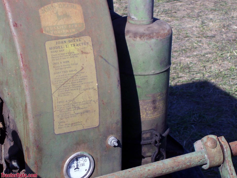 Detail of decals on styled John Deere L.