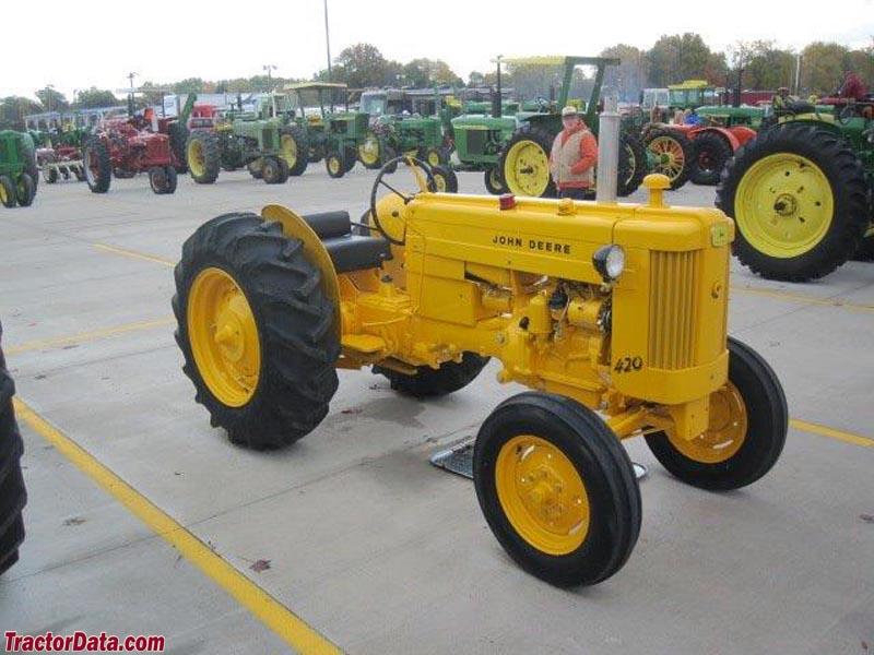 John Deere 420S standard in industrial yellow.