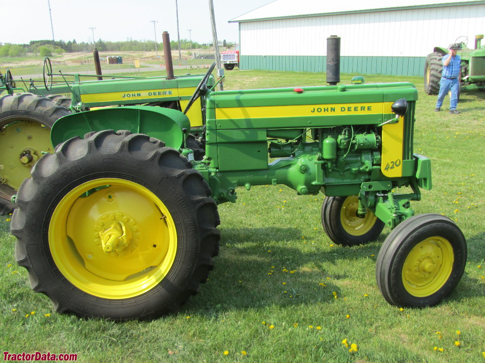 John Deere 420T with wide front end.