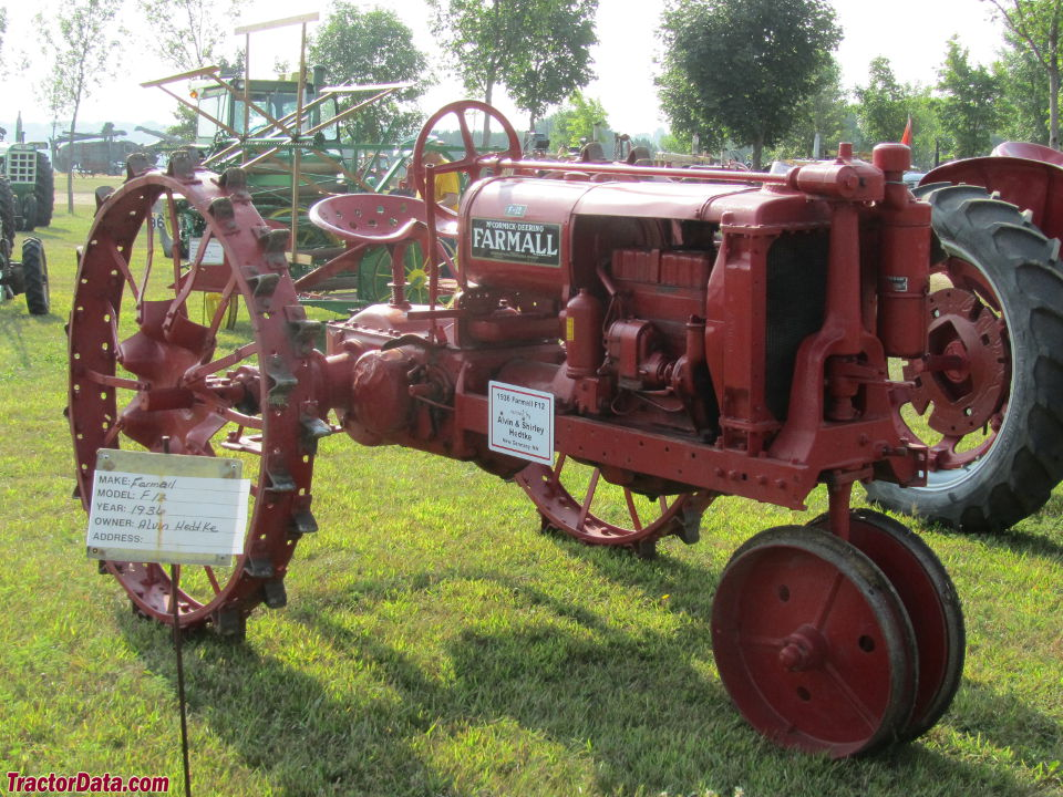 Red Farmall F-12 with tricycle front end.