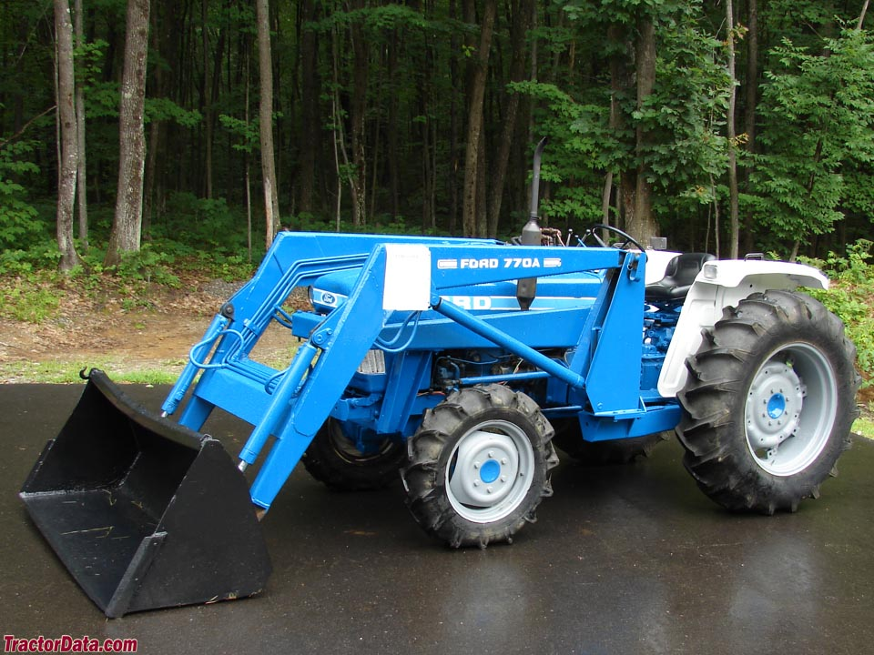 Ford 2110 with 770A front-end loader, left side.