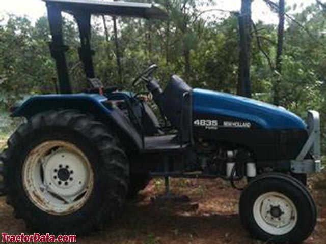 New Holland 4835 with ROPS and two-wheel drive.