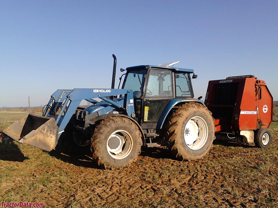New Holland 7635 with model 7310 front-end loader.