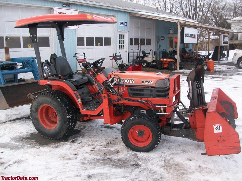 Kubota B1700 with front-mount snowblower.