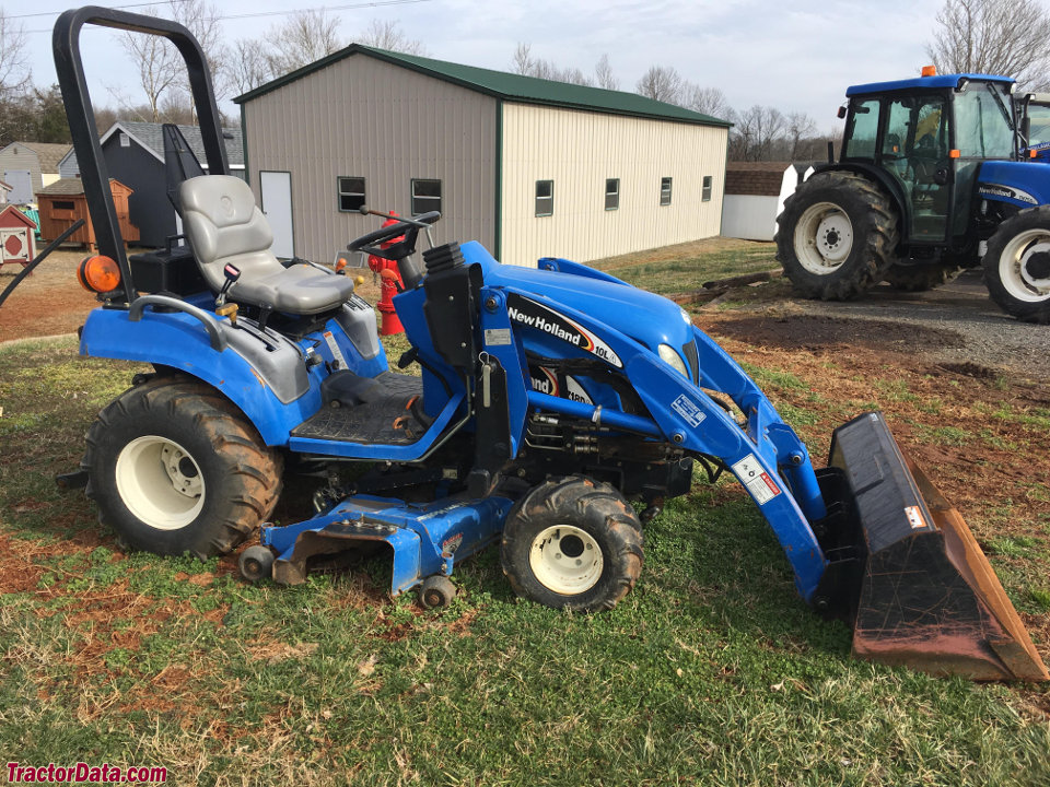 New Holland TZ18DA with 10LA front-end loader and 54CMS mower deck.