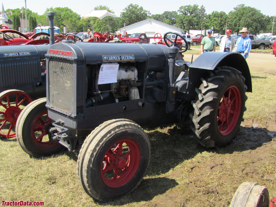 McCormick Deering 15-30 with rubber tires, left side.
