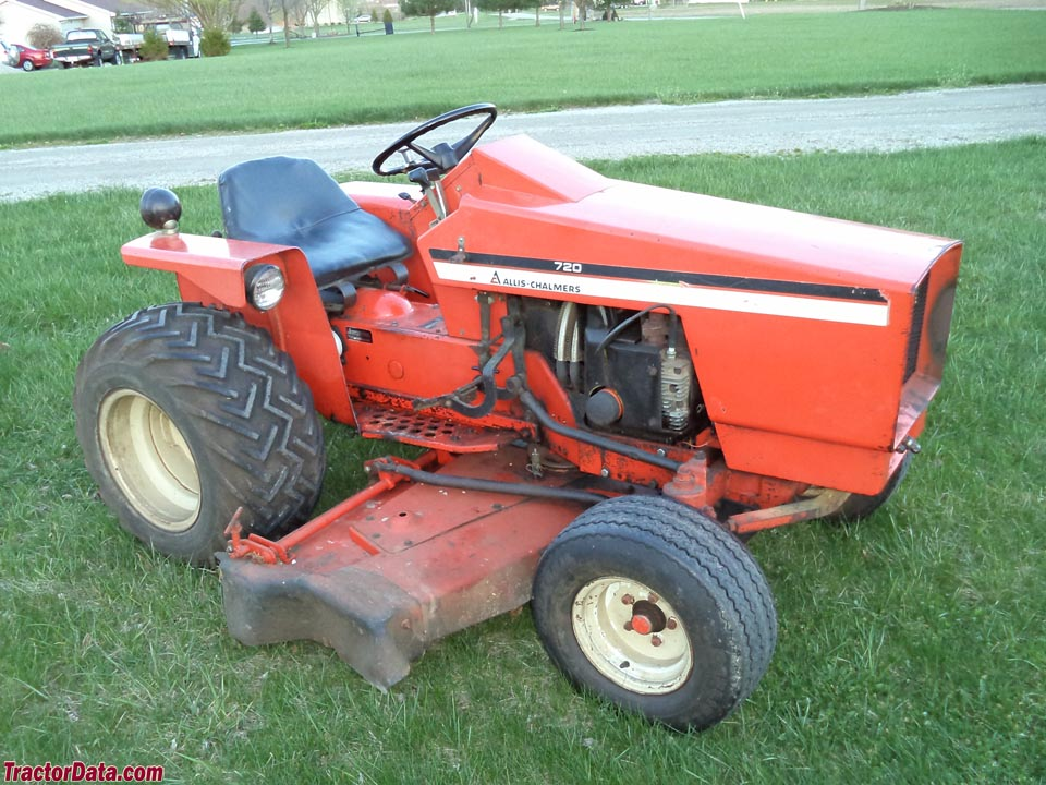 Allis-Chalmers 720 with mid-mount mower deck.
