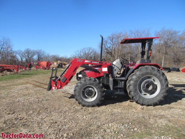 Case IH Farmall 105U with ROPS and front-end loader.