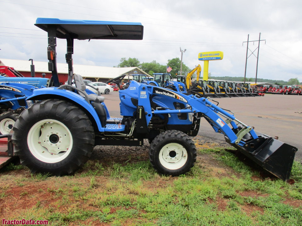 New Holland TC35DA with 16LA front-end loader.