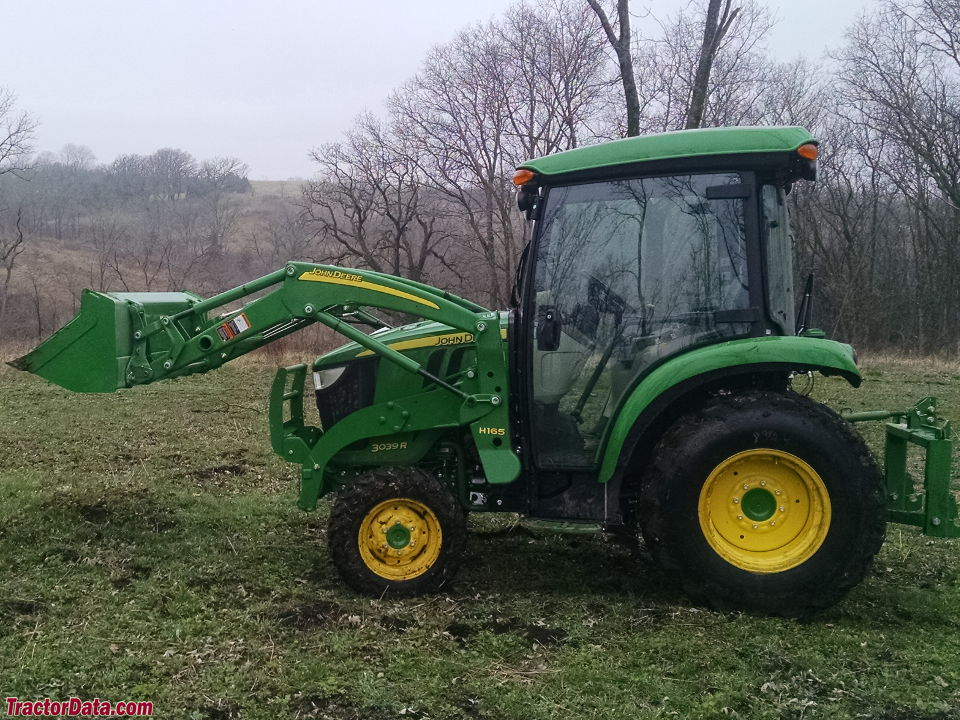 John Deere 3039R with cab and H165 front-end loader.