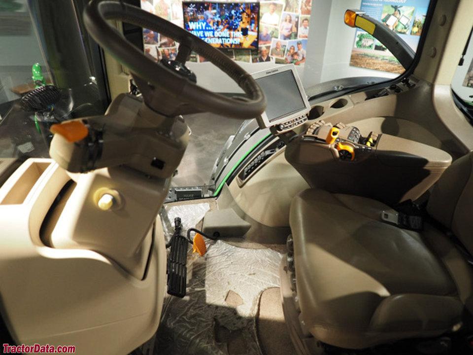 John Deere 7310R cab interior.